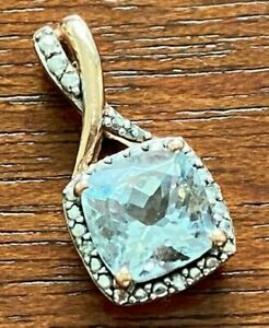 10k Rose Gold Necklace Pendant Diamond Accent Blue .75ct Aquamarine Signed SUN