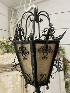 Vintage HAND FORGED Glass Caged ARTS & Ceiling Light Porch Lantern Lamp STRIKING