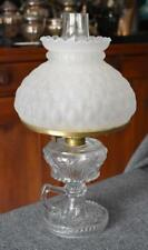 LOVELY ANTIQUE CONVERTED OIL LAMP WITH FINGER HOLD FLORAL MOTIF QUILTED SHADE