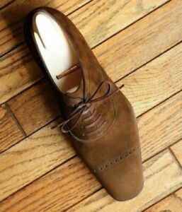 Handmade Men's Brown Suede Leather men lace up dress shoes