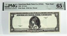 1929 10 Units American Bank Note Company Test Note With Wmk PMG Gem UNC 65 EPQ