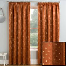 Gold Metallic Star Spot Motif Print On Orange Spice Thermal Tape Top Curtains