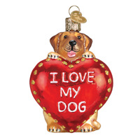 """I Love My Dog Heart"" (30052)X Old World Christmas Glass Ornament w/OWC Box"