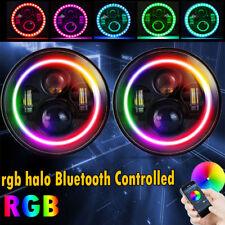"Pair 7"" RGB Color Round LED Headlights Kit Halo Angle Eyes For Jeep Wrangler JK"