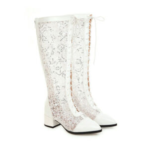 Pointed Shoes Spring Summer Women's Knee-high SequinsLace Sandals-boot Blockheel
