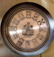 Vintage Hand-Hammered & Engraved Copper Wall Plaque Canadian States 31cms VGC