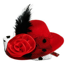 Feather Rose Lady Mini Top Hat Cap Lace fascinator Hair Costume Accessory Clip