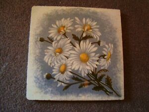 Antique tile with images of daisy flowers  21/390Y