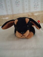 "TY Beanie Babies ""DOBY"" Black/Tan Doberman w/""ROVER"" Hang Tag Puppy Dog. PVC NEW"