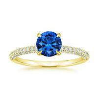 1.70 Ct Natural Diamond Blue Sapphire Rings 14K Solid Yellow Gold Gemstone Size