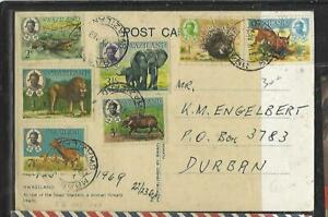 SWAZILAND (PP0609B)  11969 ANIMALS 7 DIFF ON PPC TO SOUTH AFRICA