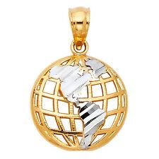 14K Solid Yellow Gold Diamond Cut 2 Tone Globe World Planet Earth Charm Pendant