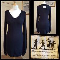 Avoca Anthology Black Cashmere Angora Cotton Blend Jumper Dress Size S Fits 8-10