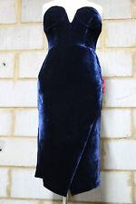 ASOS RED CARPET SUPER DEEP PLUNGE VELVET PENCIL DRESS in NAVY UK 6/EU 34/US 2