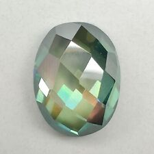 Oval Checkerboard Loose Moissanite For Ring 2.28 Ct 9.84x7.55 Mm Vvs1 Mint Green