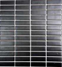 Keramikmosaik schwarz matt Wand Boden Küche Dusche Spiegel Art:WB24-0311 1 Matte