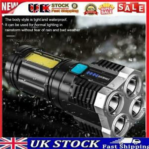 Rechargeable 4 LED+COB Beads Strong Flashlight USB Display Portable Torch UK