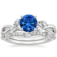 1.80 ct Blue Sapphire & Diamond Engagement Ring with Band Solid 14k White Gold