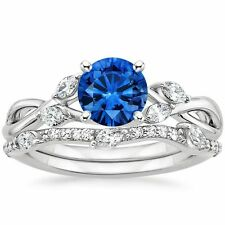 1.80 ct Blue Sapphire & Diamond Engagement Ring with Band Solid 14 Kt White Gold