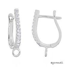 2 Fine Sterling Silver CZ Leverback Earring Hook Connector with Open Loop #97948