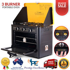 Portable Camping Caravan Cooking Oven LPG Gas 3 Burner Stove Stainless Steel NEW