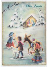 nativité Gesù Enfant Âne mouton cadeaux carte postale Buon Natale religieux