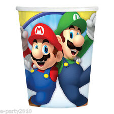 SUPER MARIO 9oz PAPER CUPS (8) ~ Video Game Birthday Party Supplies Beverage