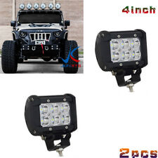 Pair 4inch 18W CREE Led Work Light Bar Driving FLOOD Offroad 4WD Truck Atv Utep