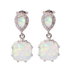 White Fire Opal 925 Silver Ear Stud Earrings for Women Fashion Wedding Party