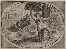 AMOR + Schiff im STURM Original Kupferstich um 1620 Leuchtturm Seefahrt Liebe