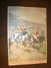 Retrocopertina Domenica del Corriere 1921 Londra Derby degli asini Inghilterra