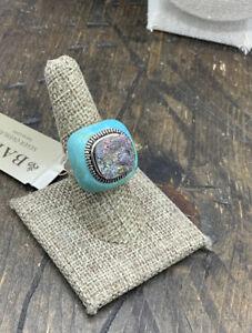 Barse Mermaid Ring- Turquoise & Druzy Quartz-8-Silver Overlay- NWT