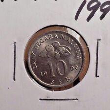 CIRCULATED 1990 10 SEN MALAYSIA COIN (82316)1
