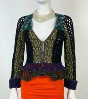 Etro New 2 4 US 38 IT S Black Gray Blue Wool Cardigan Sweater Crochet Top Runway