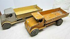 Two Vintage Handmade Metal Dump Trucks with Wood Wheels