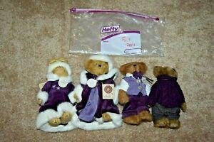 Boyds Bear Fall 2001 Bailey, Edmund, Matthew, Emily Plush Set of 4 Purple NEW