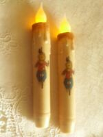 "2 SCARECROW TIMER TAPER CANDLES  6.75"" HARVEST FALL HALLOWEEN Farmhouse Crafts"