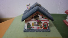 """Wooden Bird House Snowman Winter Holiday Wood Decoration Green Painted 5"""" New"""