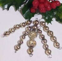 Vtg Mercury Glass Bead Icicle 5 Christmas Ornaments INDENT SILVER Feather Tree