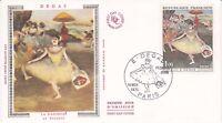 Enveloppe maximum 1er jour FDC Soie 1970 - Degas La danseuse au bouquet