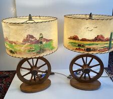 New listing Vintage Mid Century Modern Western Wagon Wheel Table Lamps & Fiberglass Shades