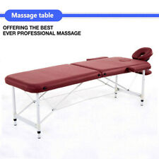 "84""L Wine Fold Portable Massage Table Facial Spa Beauty Bed Tattoo Carry Case"
