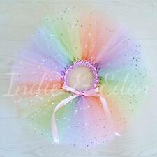 Cumpleaños del bebé Tutú Arco Iris Brillo Foto Prop Pastel Smash bebé Niño Falda