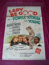 """1941 MGM Movie Poster-"""" LADY BE GOOD! """" Eleanor Powell, R. Skelton, Ann Southern"""