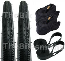 "2PAK KENDA K36 Blackwall 27"" x1-1/8"" Tires + Shrader Tubes + Rim Strips Bike Kit"