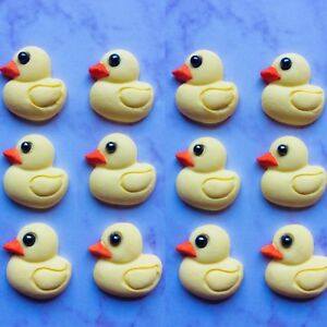 12 Little Rubber Duckies Fondant Cupcake Toppers Edible Baby Shower Ducks