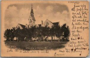 "1906 Emporia, Kansas Postcard ""COLLEGE OF EMPORIA"" Main Building View Albertype"