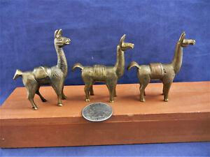 Vintage Brass Lama Figures ~ 3pc