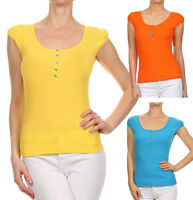 New Women's Summer Basic Casual Cap Sleeve Top Ribbed Scoop Neck Classic Henley