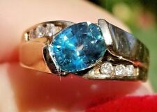 Gorgeous Bright Blue Zircon Diamond 14k yellow gold ring/band